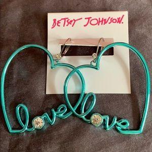 New Betsy Johnson Love Heart Earrings